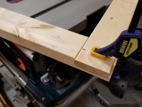 Clamped and glued frame close-up (A)