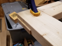 Clamped and glued frame close-up (B)